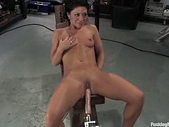 Well, it was pretty hard to keep her cum, as the machine was too good. No man on earth can do the same with her ever in her life!