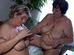 These incredibly perverted lesbians are in love. They are rimming each other's pussies using a double dildo. Grab your throbbing dick and enjoy the action!