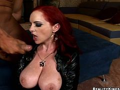 Berlin the German redhead slut gives passionate blowjob & titjob combo to some lucky man. Then she lies down on a bed and gets her pussy destroyed.