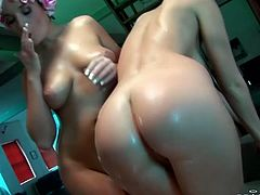 Just click here and enjoy watching two seductive brunettes are foaming each other in a shower. One sweet babe sits on face of another one and enjoys tongue job.