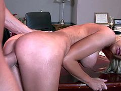 Tall tight ass blonde doll Kaylee Hilton with big firm tits and long hair teases Billy Gilde with meaty rod and gets tight pussy pounded from behind in the office.