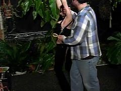 Charming pain-loving brunette Brenda is having fun with her man in the garden. She allows the dude to tie her up and then enjoys some brutal spanking.