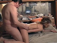 Two nasty girls has their first sex in front of a camera in two separate scenes. These hotties give a blowjob to some fat dude and get fucked on a bed.