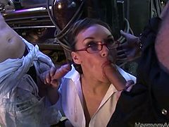 Check out how brazen secretary in glasses serves her holes fro two cocky coworkers. Bitch gives blowjobs and gets her juicy ass spanked.