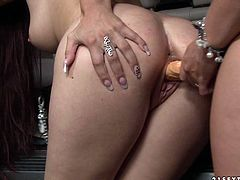 So at the beginning you can see how bootyful brunette housewife gets her tight fucked doggystyle by big strapon. Kinky hubby joins the lesbian action and gets his big cock sucked.