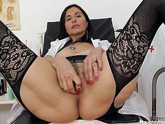 When she's not busy examining her patients or making their cocks hard, Nadezda makes a little time for herself to masturbate. The mature nurse is still looking fine and her pussy is absolutely delicious! Watch her playing with that speculum for us and how she shows us what's inside her tight, warm vagina!