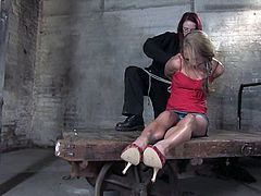 Ravishing blonde Kylie Wilde is getting naughty with some man in a cellar. The guy ties and suspends the girl, puts weights to her legs and then fucks her awesome coochie with a dildo.