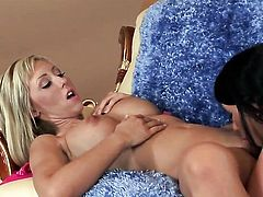 Jessica Lynn with massive melons and hairless snatch gets naked and masturbates with toy