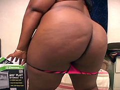 Check out this huge ebony bbw showing off her big juicy tits and fat ass. She is all naked and uses her fingers to rub her pussy and experience a deep orgasm.