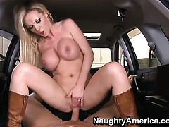 Nikki Benz sticks Christians ram rod up her pussy in one-on-one hardcore action