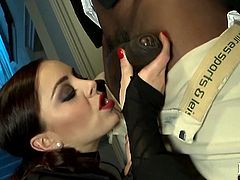 Wearing a very sexy outfit, that reveals her ass and those big boobs, our France slut Liza is horny, and ready to fuck. This time she choose black meat and gets her shaved cunt licked by this black guy, before kneeling for his cock. She wraps her red lips around his dick, like a cheap whore and delights herself.