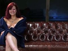 Hot redhead milf Kaydence Katchings is getting naughty with some man indoors. She lets the dude tie her up and then enjoys it much when he slams her cunt with a dildo.