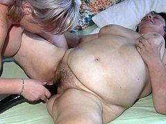 These fat chicks have to enjoy each other's company while they are fighting over this stud's cock. Horny stud fucks one of them in doggy position. Press play and enjoy the action!