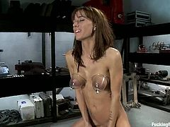This sizzling and super naughty siren Gia Dimarco is such a smoking hot honey! She gets naked in the garage and runs a fucking machine in her twat!