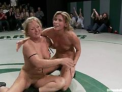Kinky bitches wrestle being naked for a public