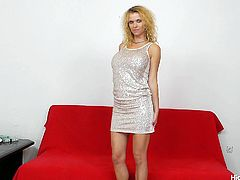 This dirty blonde bitch is looking super sexy in her cute dress. she lifts up her skirt to reveal her sweet pussy and then slowly begins to pull her black stockings out of her vagina that she has stuffed in there earlier.