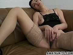 Short-haired milf banged by three horny blokes
