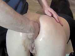 Sexy Rookie female has her opening full fist fucking to A wrist inside her ruined anus hole