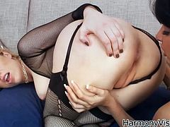 Watch her enjoying that lesbian sex with her girl friend in her bedroom while tighten up in Harmony Vision sex clips.