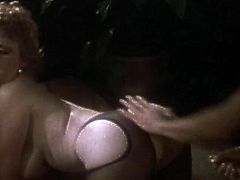 Amazing babe in black stockings gets drilled and made to moan in vintage hardcore