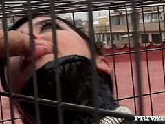 Submissive whore Tiffany Hopkins is sucking big dicks while sitting in  cage