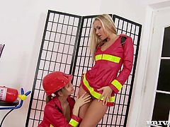 Kinky firefighter cosplay scene featuring two sizzling girls
