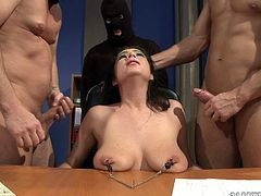 Boobalicious and super sexy brunette got fucked by a group of three
