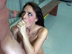 Tanned tattooed prisoner Dale Dabone with good looking body and rock hard bazooka fucks form behind pretty brunette Chanel Preston with big firm tits and makes her gives him head.