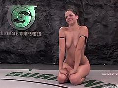 A brunette and a blonde fight in each other in the ring. They show good fighting skills. In the end of the day the blonde girl loses the fight. So, she licks brunette's pussy and then gets toyed from behind.