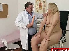 Mature woman gets examined by the doctor. Later on she also shows her pussy in close-up scenes and gets toyed deep.