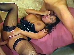 Big tits asian pornstar goes wild in threesoem by fucking hard with two cocks
