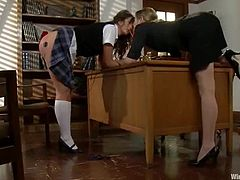 Sexy girl in school uniform gets punished by a female principal. She gets tied up and tortured with electricity. Later on she also gets her tight pussy toyed hard.