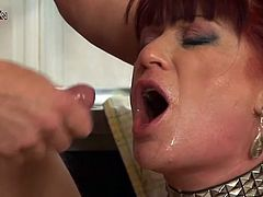 Several toys and an anal fucking is what this redhead MILF is going to get in this wild fucking session in the kitchen.