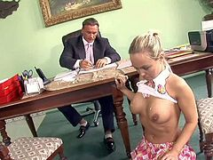 Pretty blonde schoolgirl Mie Leone with awesome body in stockings and tempting uniform gives head to teacher and gets big jaw dropping hooters sprayed with load of cum.