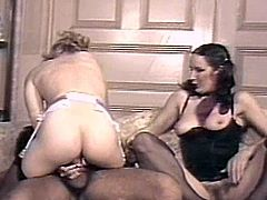 Nasty ladies are having an amazing fuck in top threesome vintage porn session