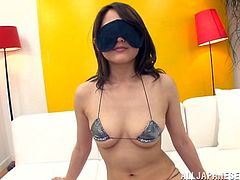 Slim Nippon chick Misa is up for a treat. I've blindfolded her and gave her different things to taste. From ice cream to a dildo, Misa experiences different sensations which she loves. Maybe it's time to give her pretty mouth something hard and hot, such as my dick! Will she like that? Let's find out!