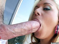 Brandy Blair with phat booty is good on her way to satisfy her fuck buddy with her sweet mouth