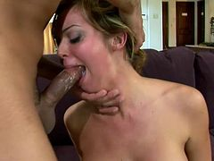 Blonde girl plays with her pussy and gets face fucked. Then she gives a titjob and gets fucked in her smooth pussy. The guy also chokes Jessi and cums on her pretty face.