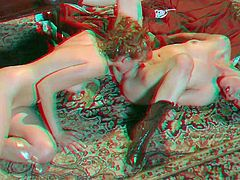 Marie Mccray and Jessi Palmer are lovely girls that tongue fuck each others slits with wild passion in Dracula porn parody in 3D. They spread their legs for each other and get some pleasure.