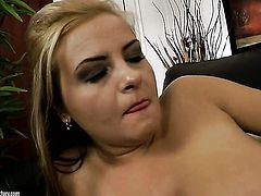 Brunette Candy Alexa with huge hooters does her best to make hard dicked guy explode