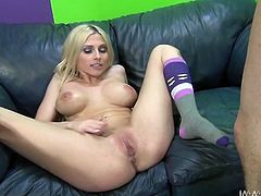 That's what this amazing blond babe needed so bad! She gives him a hot blowjob and then he fucks her tight pussy in all ways.