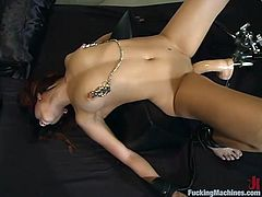 Curvy brunette Satine Phoenix shows off her terrific tits and hot butt. Then she takes a wild ride on a fucking machine and moans sweetly with delight.