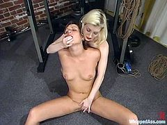 Real fetish with two smoking hot lesbians. They get naked and start this painful stuff. Cowgirl is going to be tortured by Kat and it's gonna be hard.