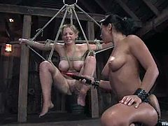 Naughty Sara Scott gets bounded and toyed by Sandra Romain