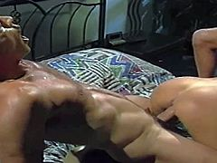 One of a kind porn queen Jill Kelly sucks two handsome studs and gets her tight ass and wet pussy pounded until they spray her pretty face with loads of cum.