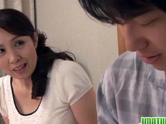 Check out sexy japanese milf named Yuuko Kuremachi getting her tight hairy snatch stretched. She enjoys every inch of his young cock and moans loud on it like crazy!