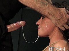 BDSM brings you an amazing free porn video where you can see how a gorgeous and busty brunette gets tied up and abused. She loves getting her mouth banged!