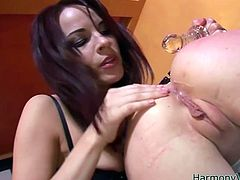 Naughty whores are going wild and dirty in provocative lesbian fuck scene. Blondy stands on her all four lifting her ass up in the air. Her lover stretches her anus with fingers. Later on she gets her ass hole plugged with anal sex toy.