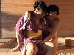 Salacious Japanese milf is having fun with some guy in a bathroom. She favours the dude with a blowjob and then they have sex in missionary and cowgirl positions.