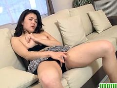 Amazing Japanese mature enjoying wild toy inserting in shaved pussy.Watch how she strips her clothes off while looking at porn magazine and she masturbates her tight wet pussy with vibrator.